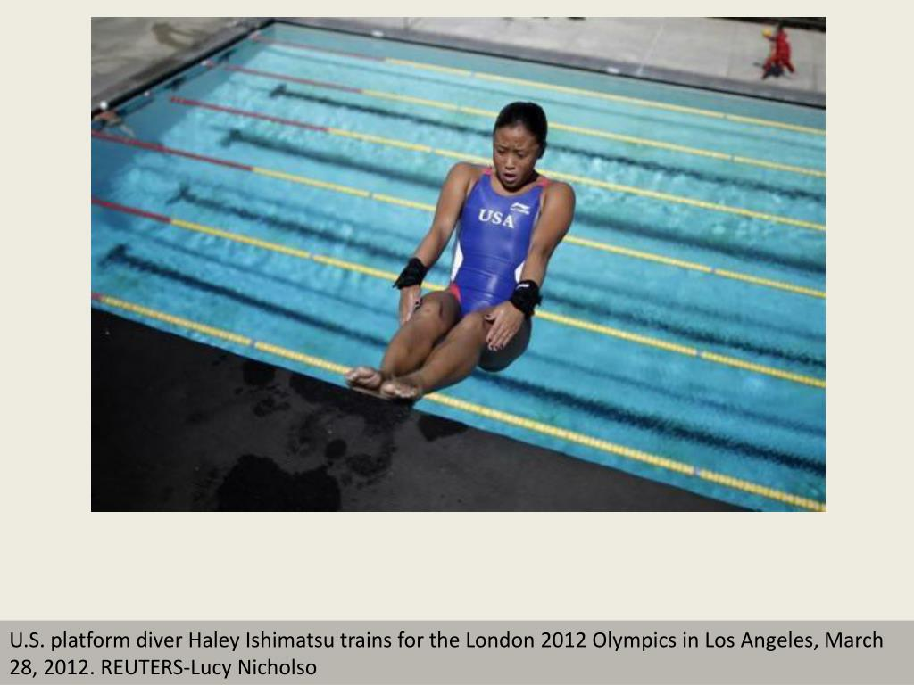 U.S. platform diver Haley Ishimatsu trains for the London 2012 Olympics in Los Angeles, March 28, 2012. REUTERS-Lucy Nicholso