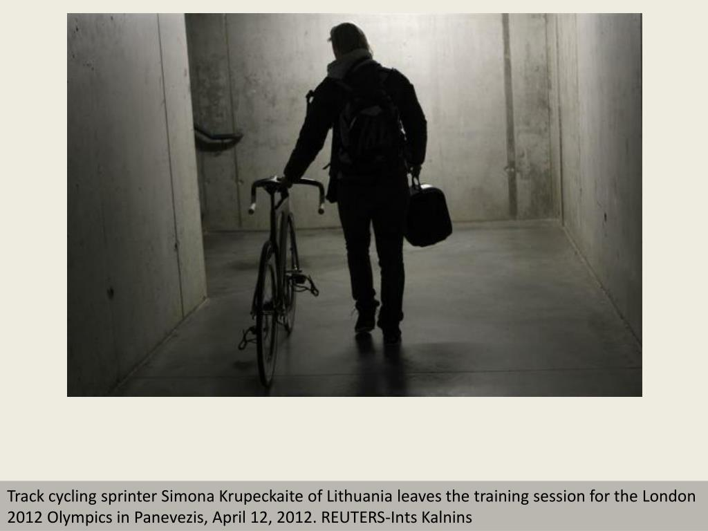 Track cycling sprinter Simona Krupeckaite of Lithuania leaves the training session for the London 2012 Olympics in Panevezis, April 12, 2012. REUTERS-Ints Kalnins