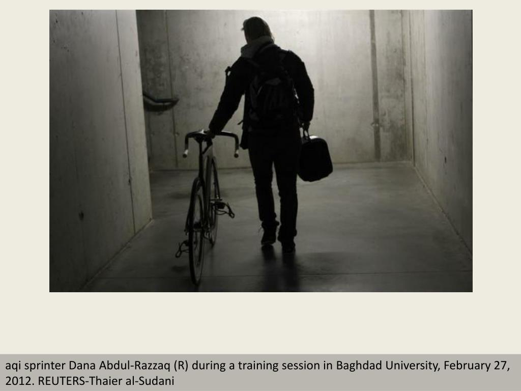 aqi sprinter Dana Abdul-Razzaq (R) during a training session in Baghdad University, February 27, 2012. REUTERS-Thaier al-Sudani