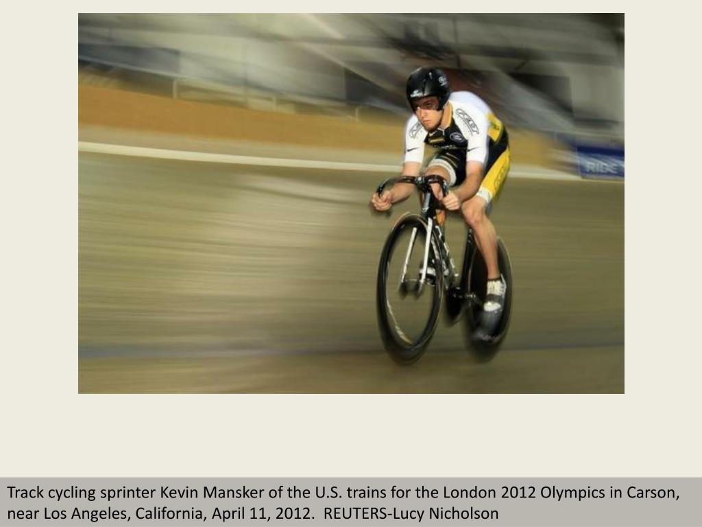 Track cycling sprinter Kevin Mansker of the U.S. trains for the London 2012 Olympics in Carson, near Los Angeles, California, April 11, 2012.  REUTERS-Lucy Nicholson