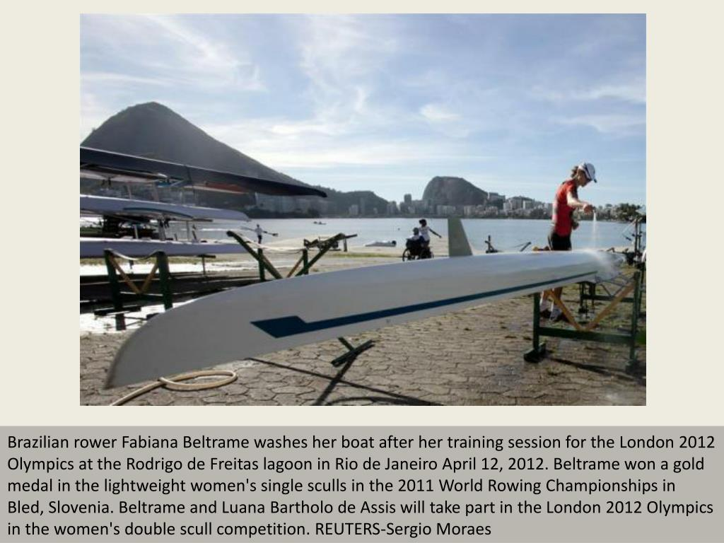 Brazilian rower Fabiana Beltrame washes her boat after her training session for the London 2012 Olympics at the Rodrigo de Freitas lagoon in Rio de Janeiro April 12, 2012. Beltrame won a gold medal in the lightweight women's single sculls in the 2011 World Rowing Championships in Bled, Slovenia. Beltrame and Luana Bartholo de Assis will take part in the London 2012 Olympics in the women's double scull competition. REUTERS-Sergio Moraes