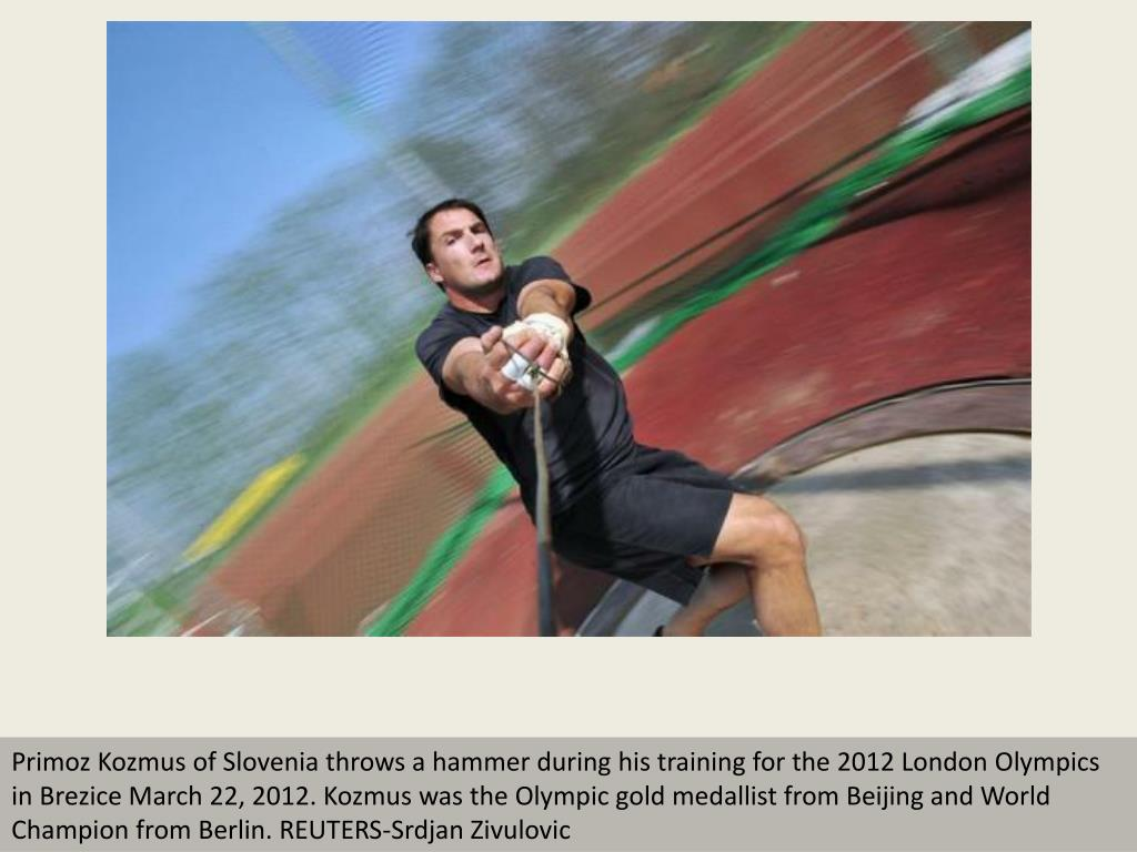 Primoz Kozmus of Slovenia throws a hammer during his training for the 2012 London Olympics in Brezice March 22, 2012. Kozmus was the Olympic gold medallist from Beijing and World Champion from Berlin. REUTERS-Srdjan Zivulovic