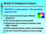 models for intelligence analysis