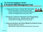 the technical intelligence system a powerful r d management tool