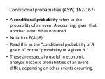 conditional probabilities asw 162 167