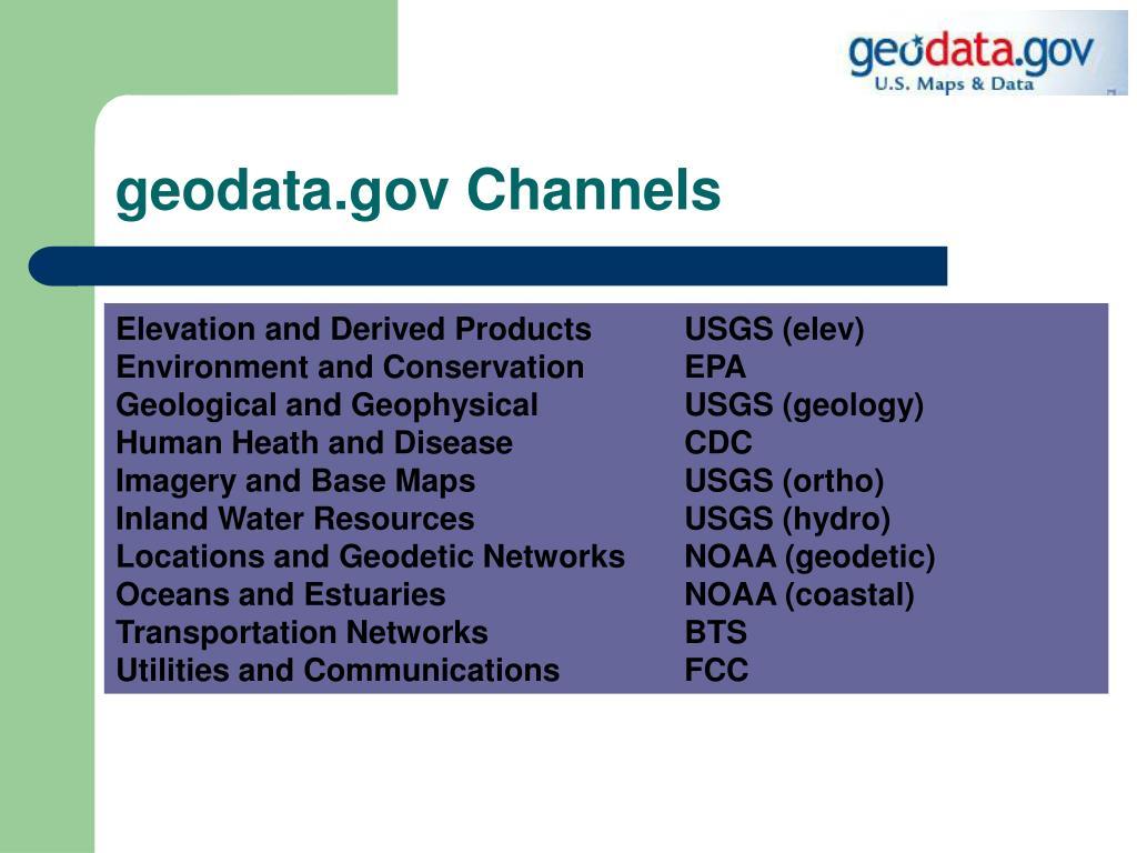 geodata.gov Channels