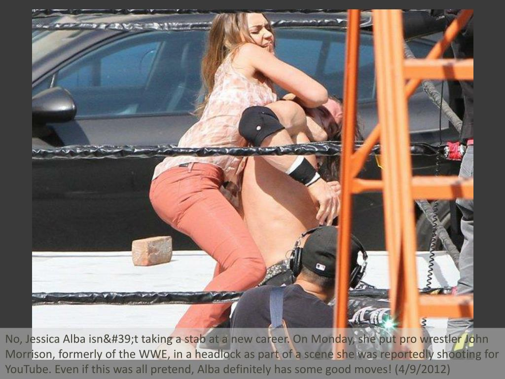No, Jessica Alba isn't taking a stab at a new career. On Monday, she put pro wrestler John Morrison, formerly of the WWE, in a headlock as part of a scene she was reportedly shooting for YouTube. Even if this was all pretend, Alba definitely has some good moves! (4/9/2012)