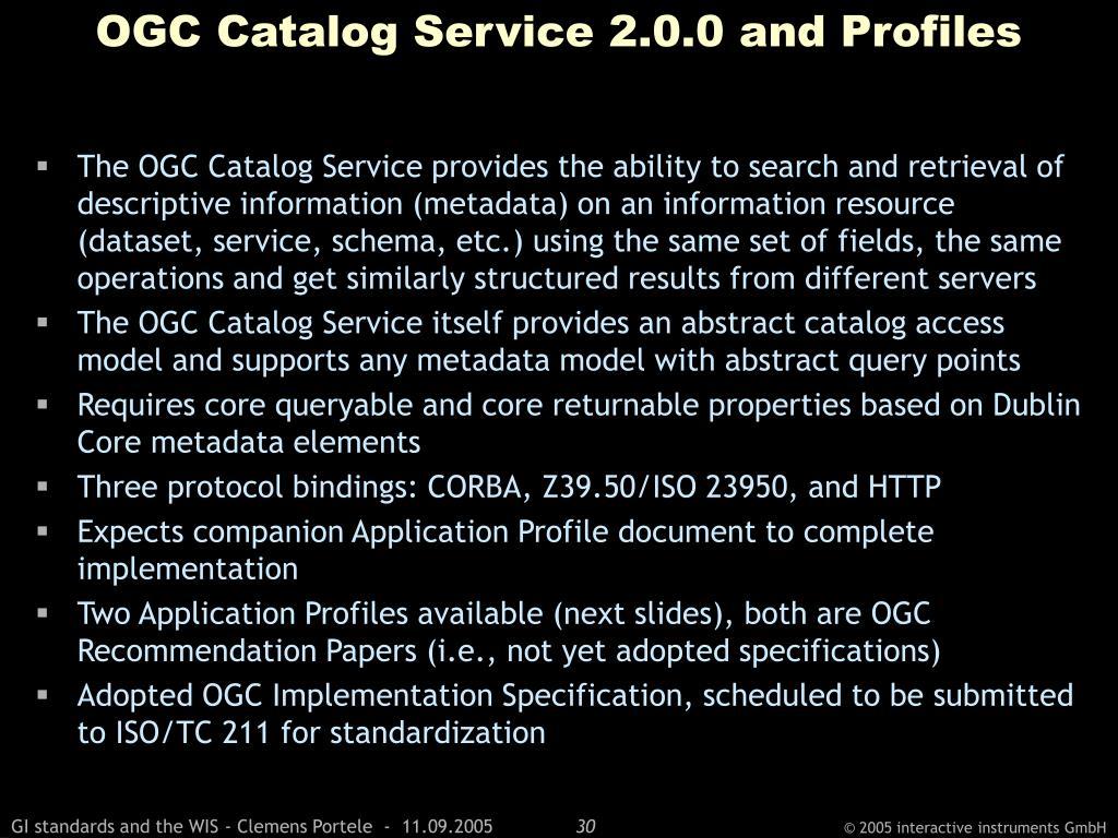 OGC Catalog Service 2.0.0 and Profiles