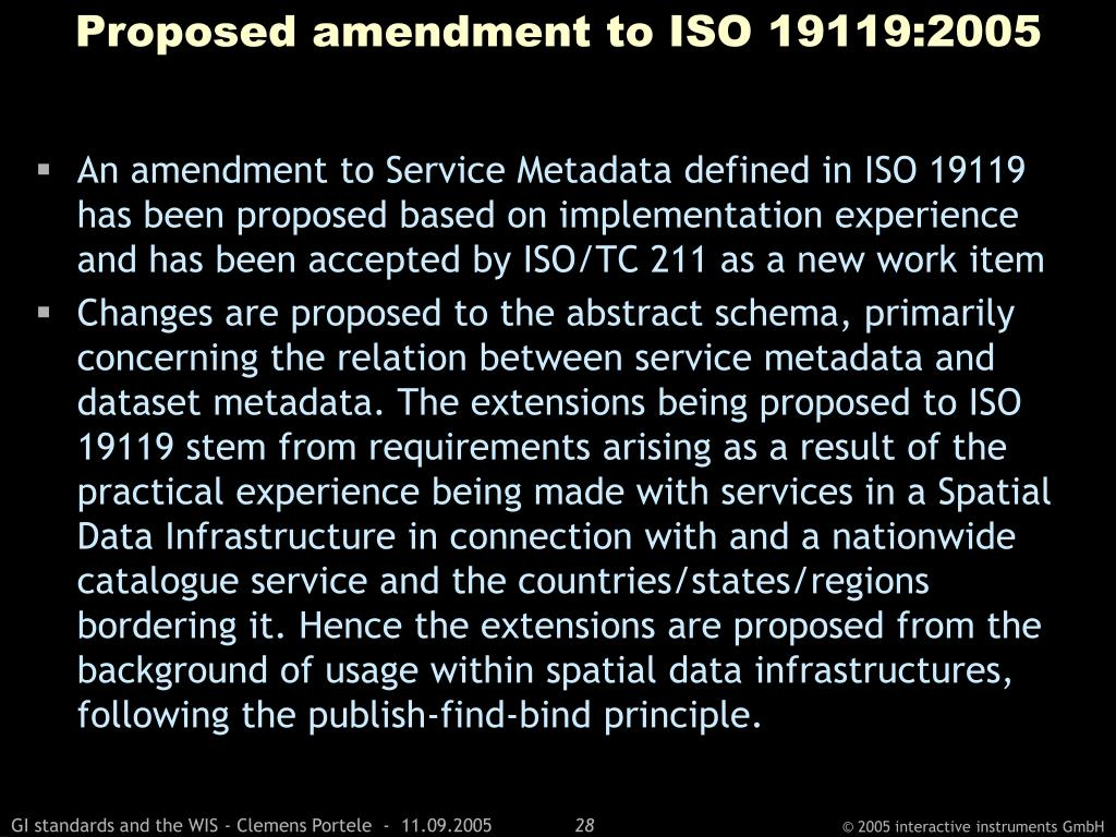 Proposed amendment to ISO 19119:2005