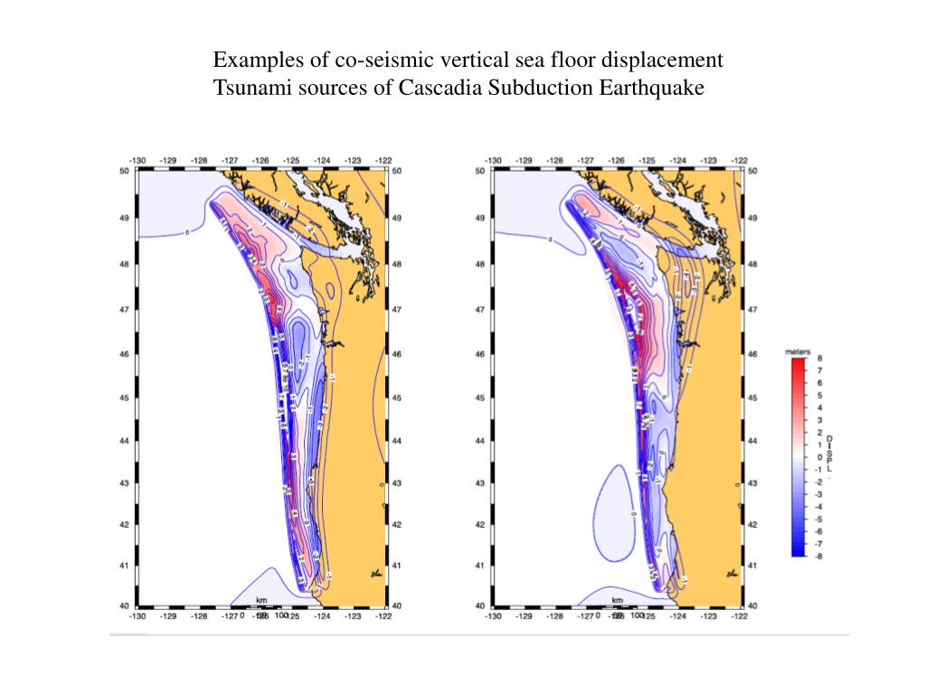 Examples of co-seismic vertical sea floor displacement