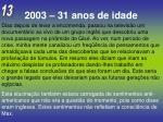 2003 31 anos de idade13