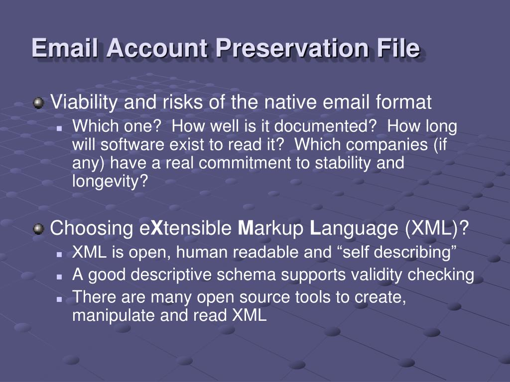 Email Account Preservation File