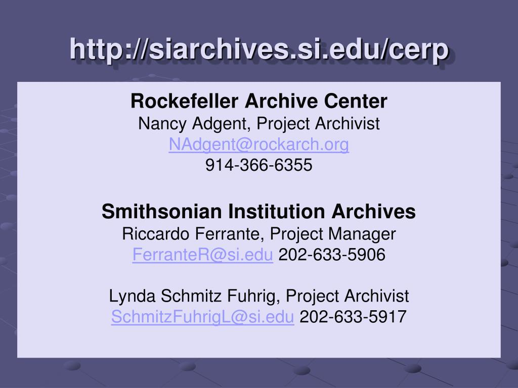 http://siarchives.si.edu/cerp