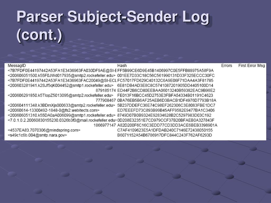 Parser Subject-Sender Log (cont.)