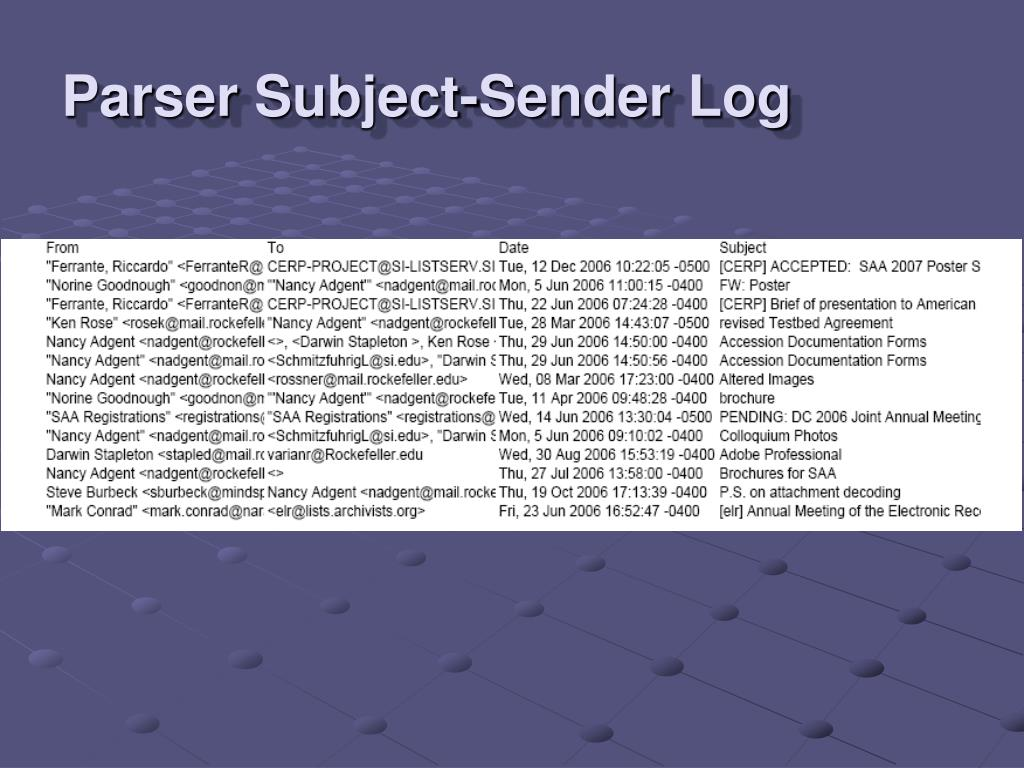 Parser Subject-Sender Log
