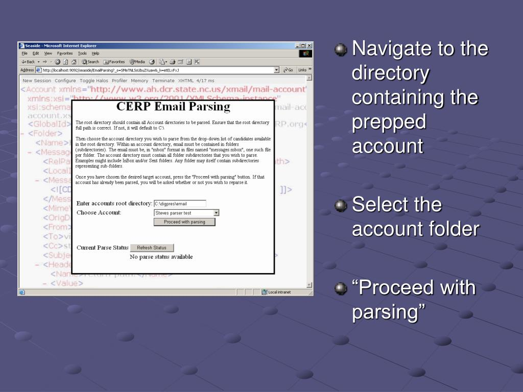 Navigate to the directory containing the prepped account