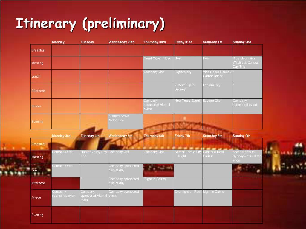 Itinerary (preliminary)