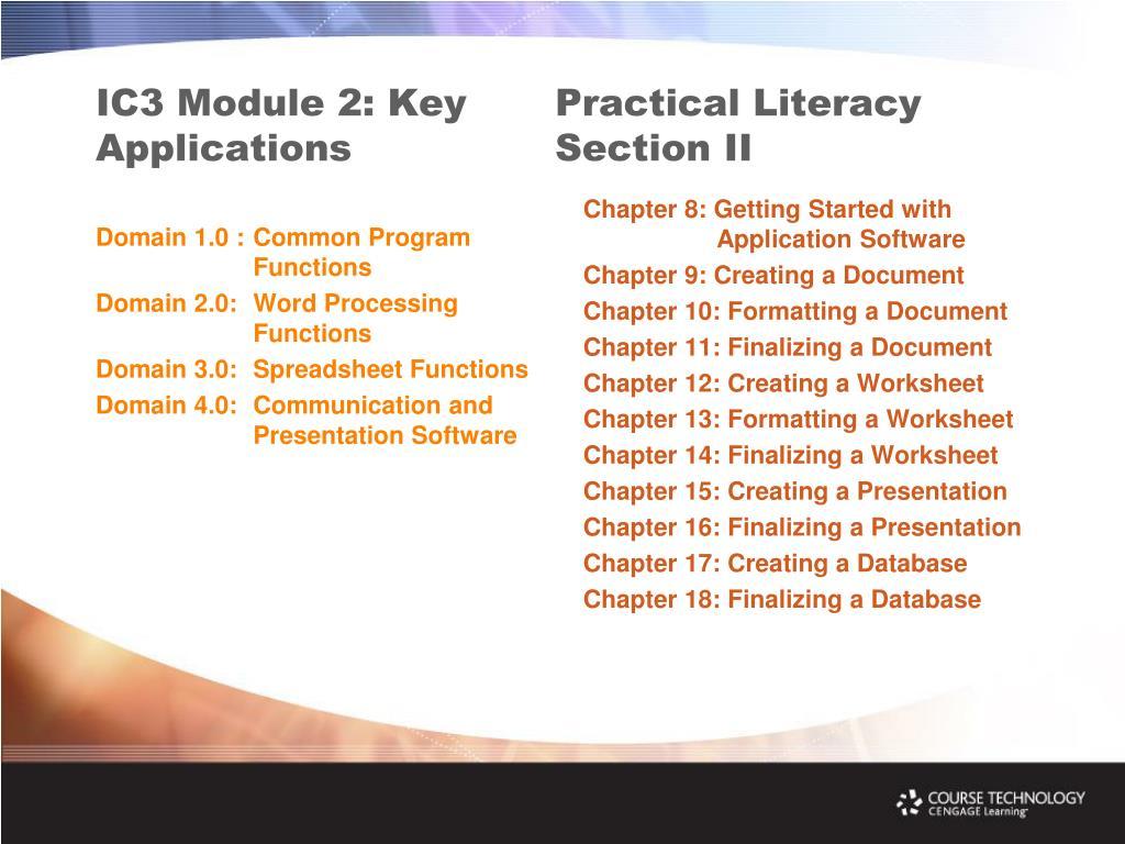 IC3 Module 2: Key Applications