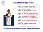 e s cientists concerns