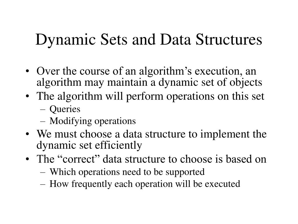 dynamic sets and data structures