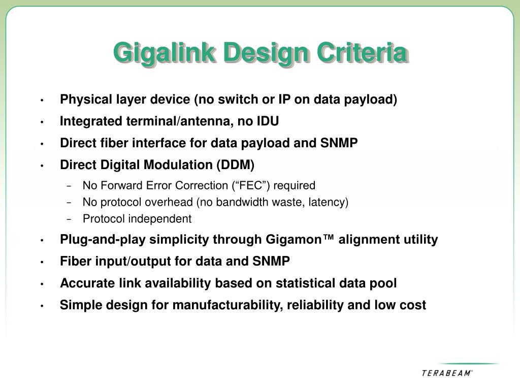 Gigalink Design Criteria