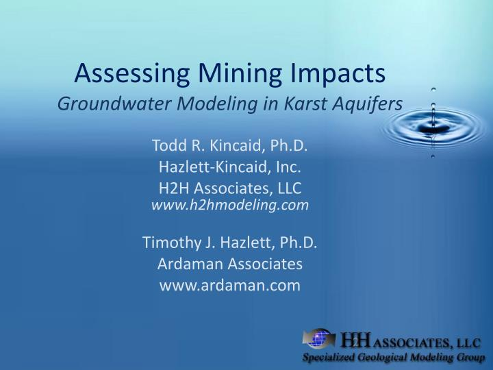 Assessing mining impacts groundwater modeling in karst aquifers l.jpg