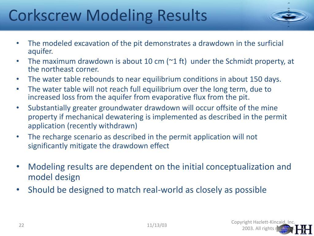 Corkscrew Modeling Results