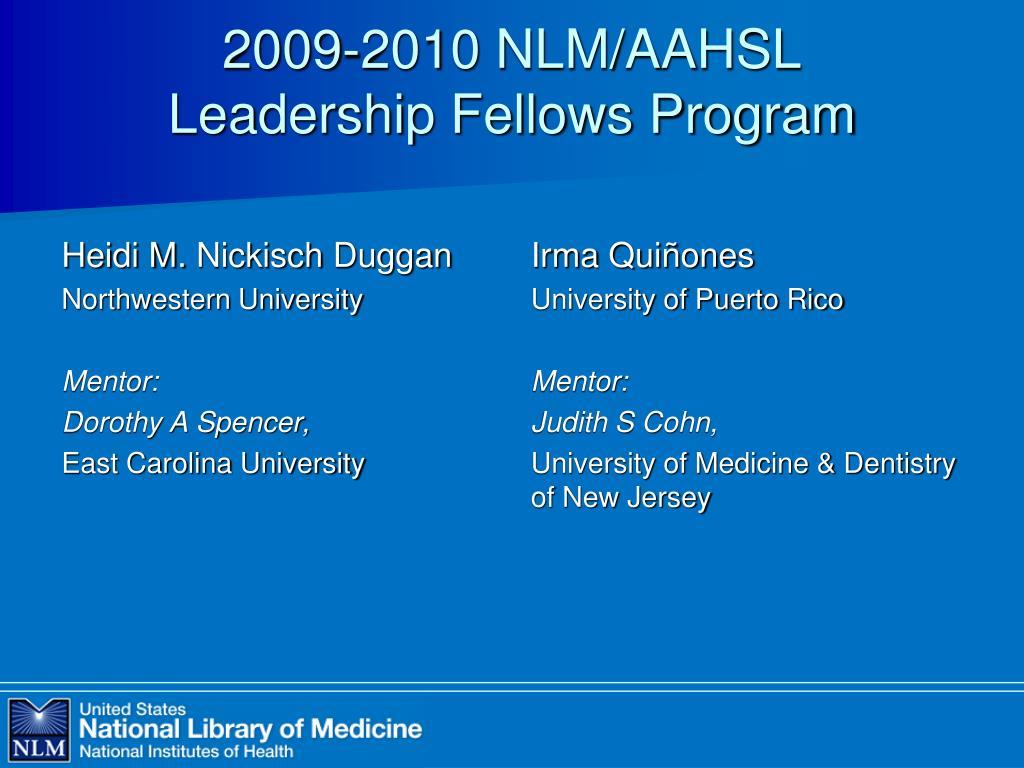 2009-2010 NLM/AAHSL