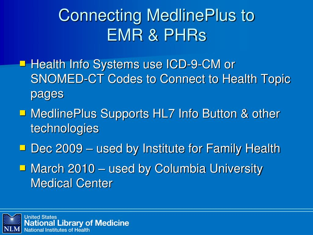 Connecting MedlinePlus to