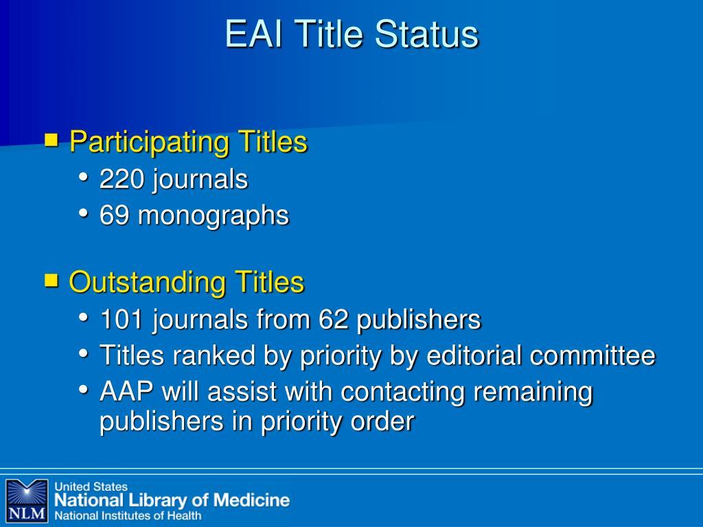EAI Title Status