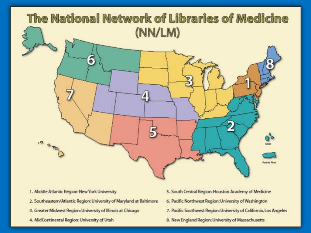 National Network of Libraries of Medicine (NN/LM) – Map of 8 Regions