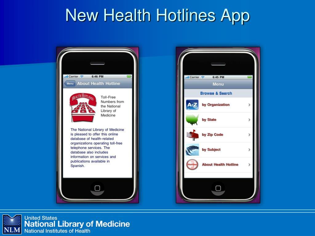 New Health Hotlines App