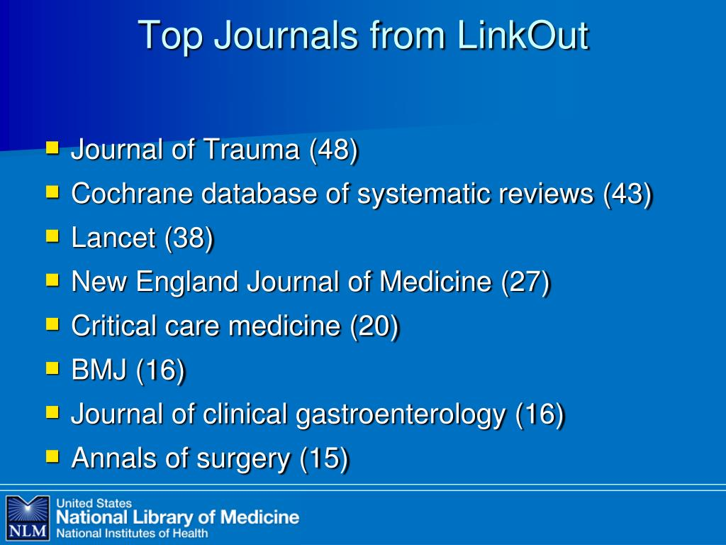 Top Journals from LinkOut