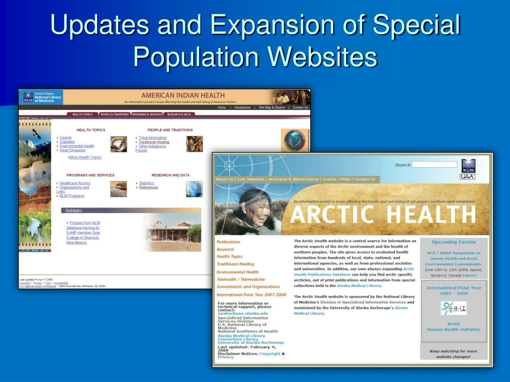 Updates and Expansion of Special Population Websites