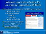 wireless information system for emergency responders wiser
