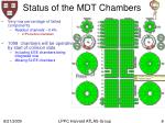 status of the mdt chambers
