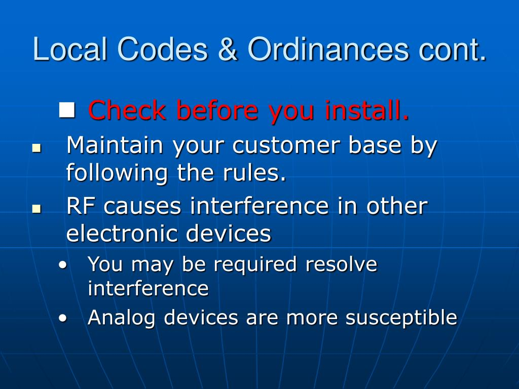 Local Codes & Ordinances cont.