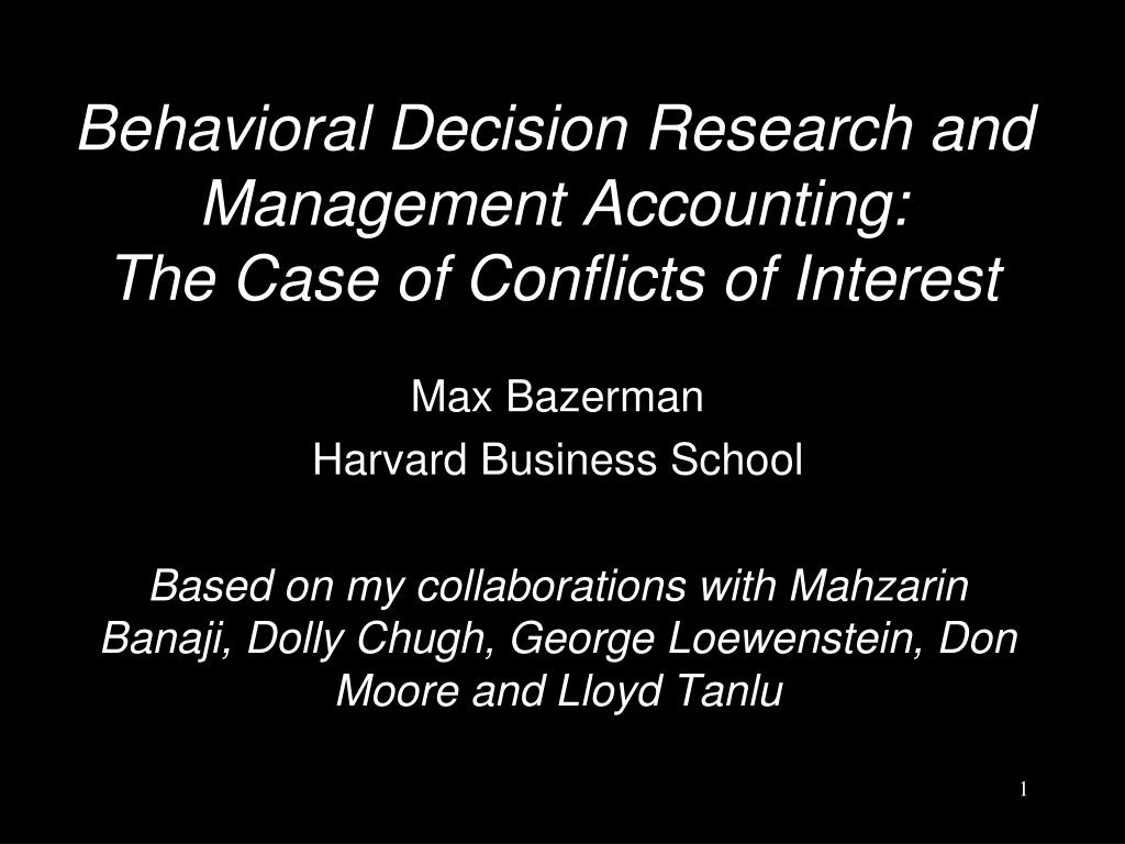 Behavioral Decision Research and Management Accounting: