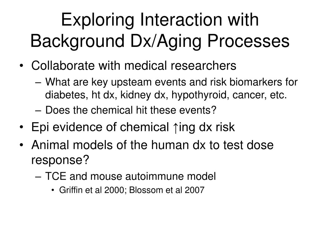 Exploring Interaction with Background Dx/Aging Processes