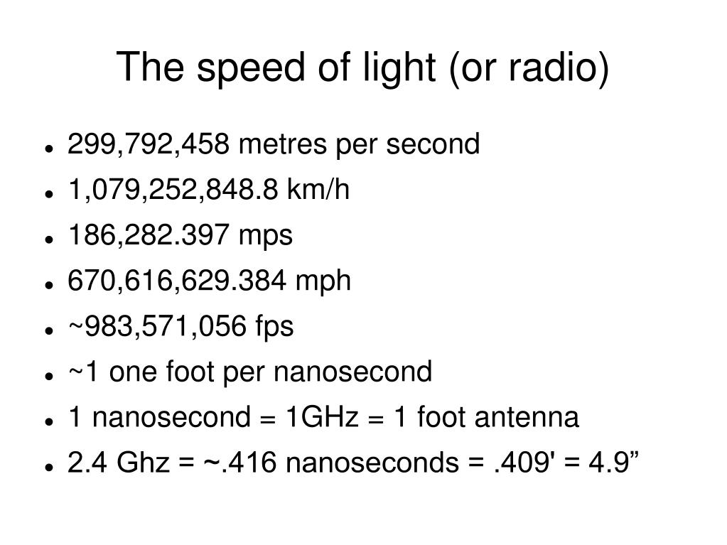The speed of light (or radio)