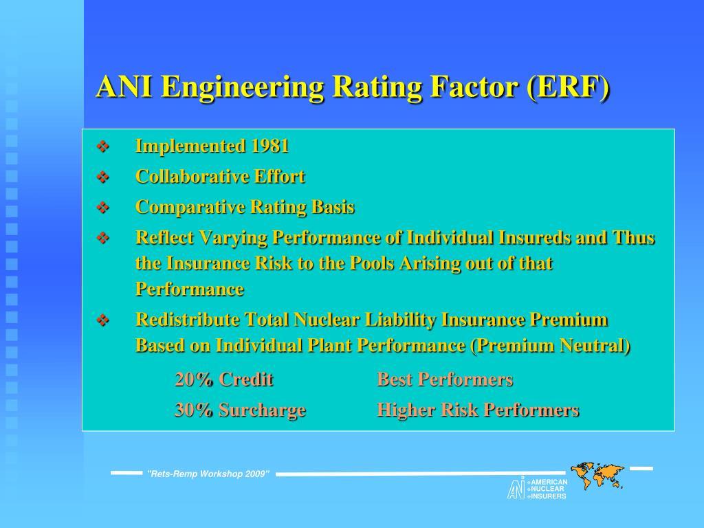 ANI Engineering Rating Factor (ERF)