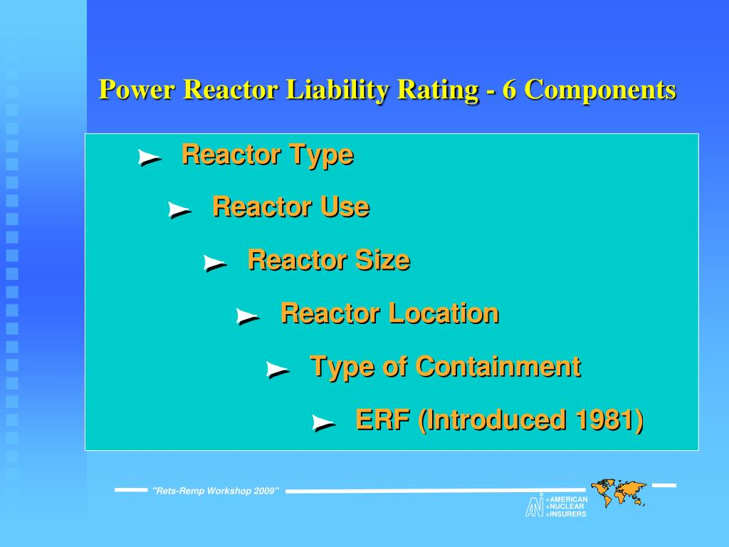 Power Reactor Liability Rating - 6 Components