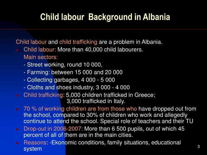 Child labour background in albania
