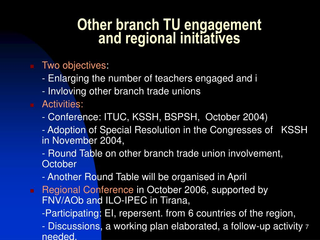 Other branch TU engagement
