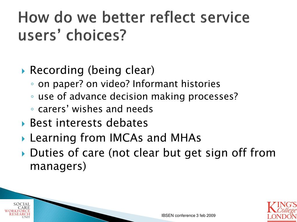 How do we better reflect service users' choices?