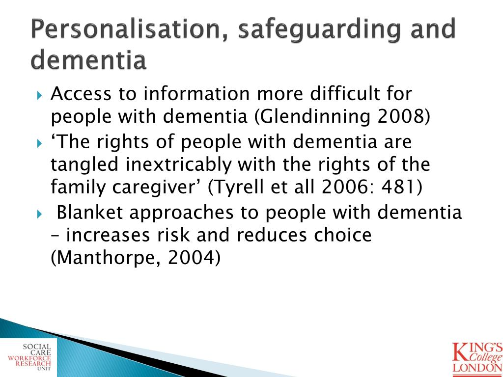 Personalisation, safeguarding and dementia