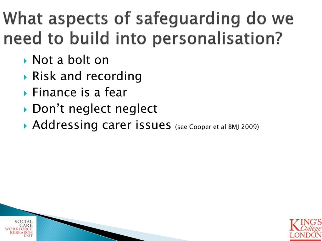 What aspects of safeguarding do we need to build into personalisation?