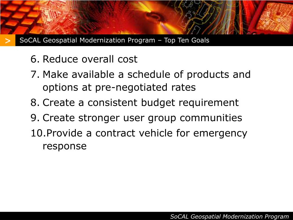 SoCAL Geospatial Modernization Program – Top Ten Goals