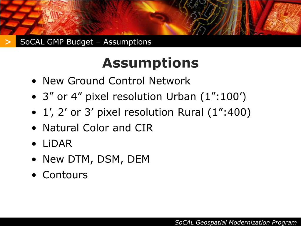 SoCAL GMP Budget – Assumptions