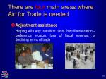 there are four main areas where aid for trade is needed10